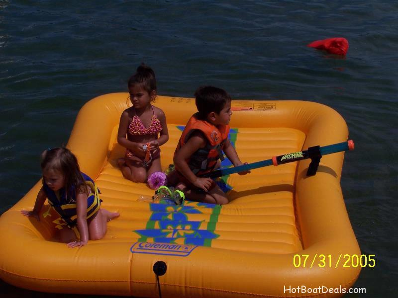 The kids on a raft