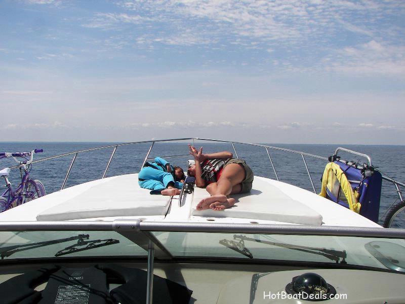 Meg and mommy bonding on the bow
